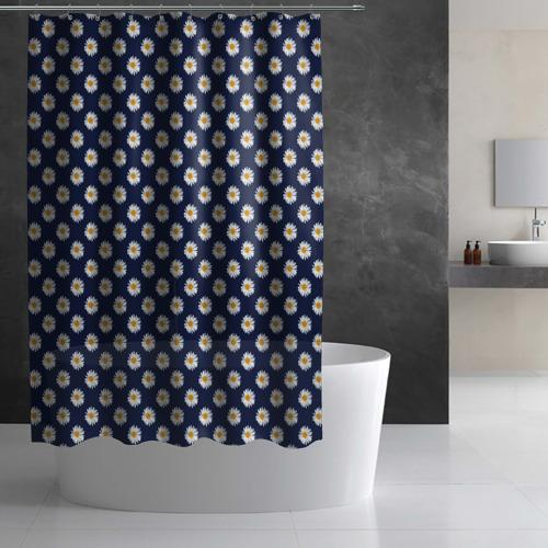 Штора 3D для ванной  Фото 02, Ромашки