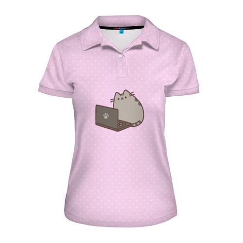 Женская рубашка поло 3D Pusheen за компом