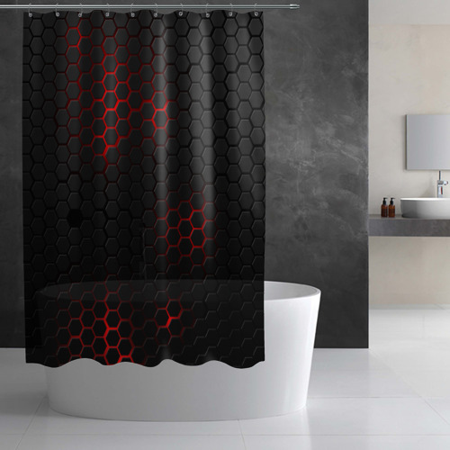 Штора 3D для ванной СТАЛЬНАЯ БРОНЯ Фото 01