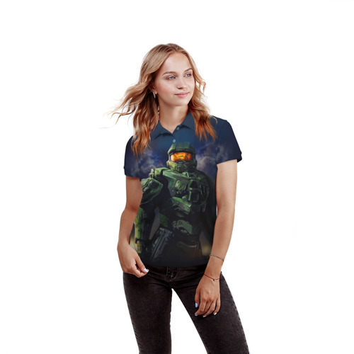 Женская рубашка поло 3D  Фото 03, Halo