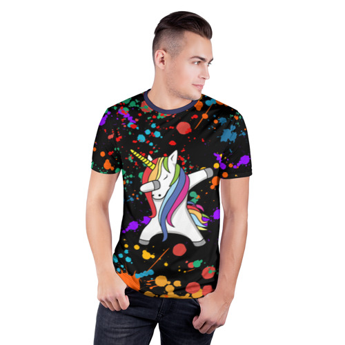 Мужская футболка 3D спортивная ЕДИНОРОГ РАДУГА Фото 01