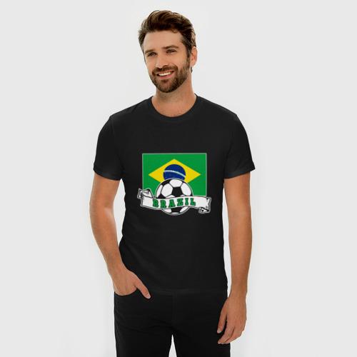 Мужская футболка премиум Футбол - Бразилия Фото 01