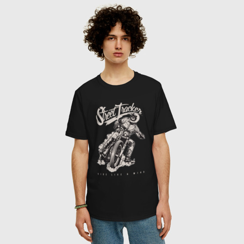 Мужская футболка хлопок Oversize Мотоциклист Фото 01