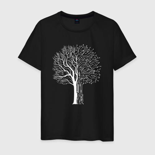 Мужская футболка хлопок Дерево Киберпанк Фото 01