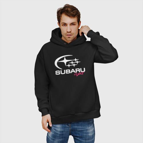 Мужское худи Oversize хлопок SubaruSect белое лого Фото 01