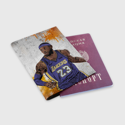 Обложка для паспорта матовая кожа Леброн Джеймс Фото 01