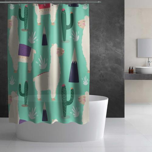 Штора 3D для ванной Альпаки Фото 01