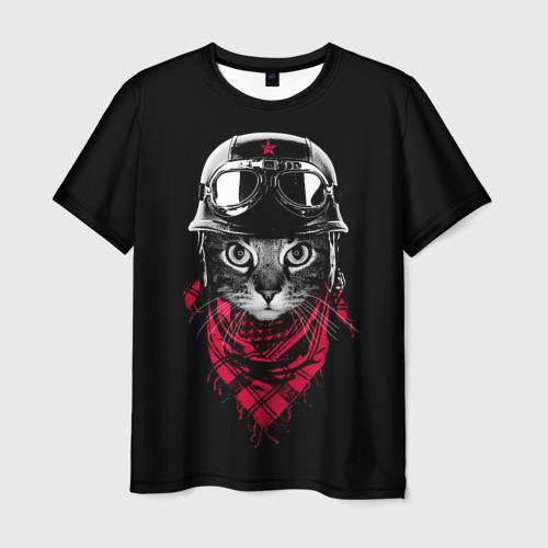 Мужская футболка 3D Кот Пилот