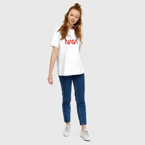 Женская футболка хлопок Oversize NASA red Фото 01