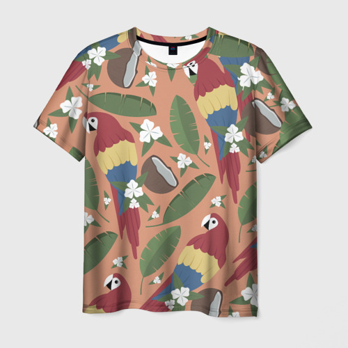 Мужская футболка 3D  Фото 01, Попугайчики