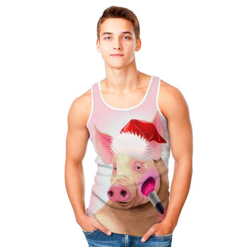 Мужская майка 3D  Фото 05, Новогодняя свинья