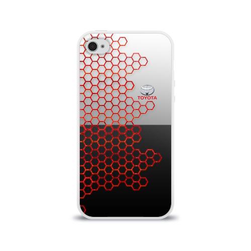 Чехол для Apple iPhone 4/4S силиконовый глянцевый Toyota brend: Соты Фото 01