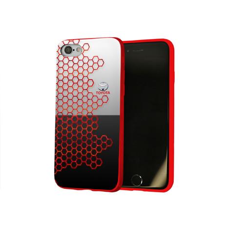 Чехол для Apple iPhone 8 силиконовый глянцевый Toyota brend: Соты Фото 01