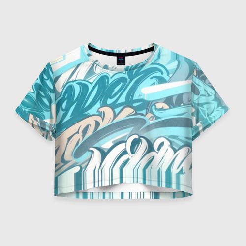 Женская футболка Crop-top 3D Glitch letters Фото 01