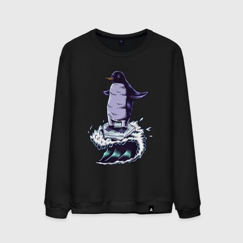 Пингвин серфит на льдине