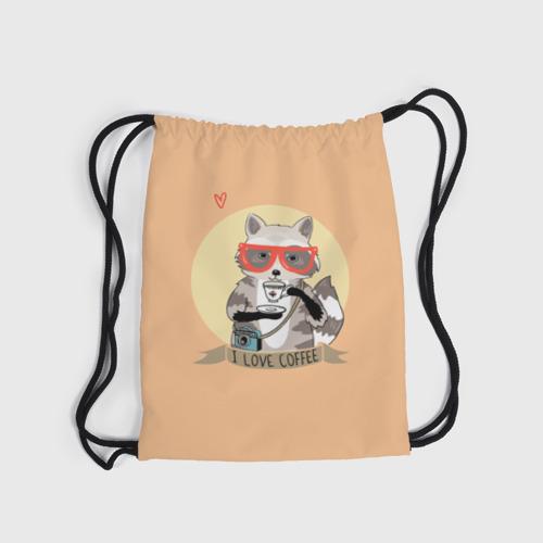 Рюкзак-мешок 3D Енот и кофе Фото 01