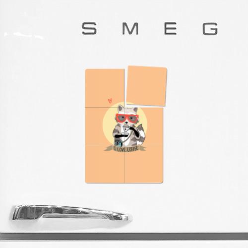 Магнитный плакат 2Х3 Енот и кофе Фото 01