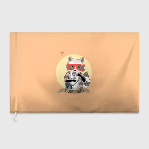 Флаг 3D Енот и кофе Фото 01