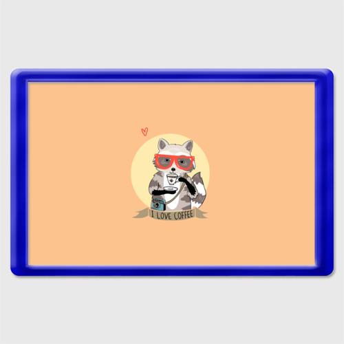 Магнит 45*70 Енот и кофе Фото 01