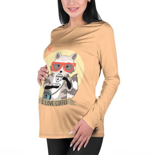 Женский лонгслив 3D для беременных  Фото 01, Енот и кофе