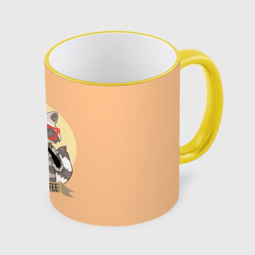 Кружка с полной запечаткой Енот и кофе Фото 01
