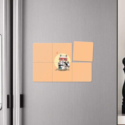 Магнитный плакат 3Х2 Енот и кофе Фото 01