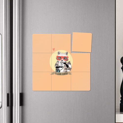Магнитный плакат 3Х3 Енот и кофе Фото 01