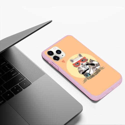 Чехол для iPhone 11 Pro Max матовый Енот и кофе Фото 01