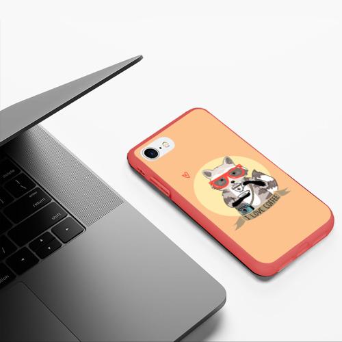 Чехол для iPhone 7/8 матовый Енот и кофе Фото 01