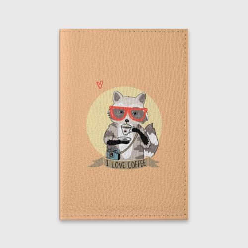 Обложка для паспорта матовая кожа Енот и кофе Фото 01