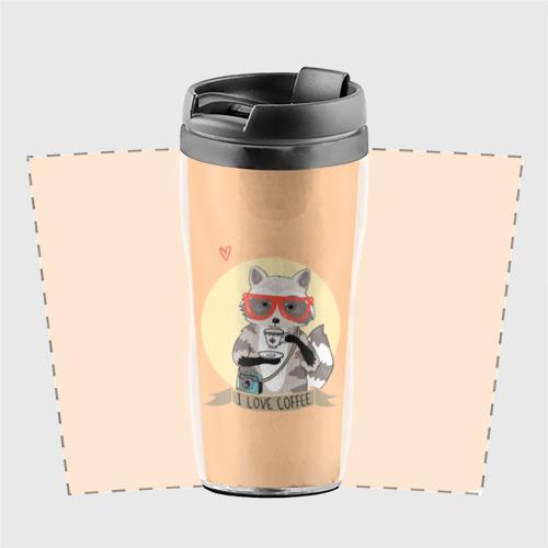 Термокружка-непроливайка Енот и кофе Фото 01