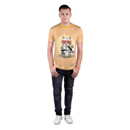 Мужская футболка 3D спортивная Енот и кофе Фото 01