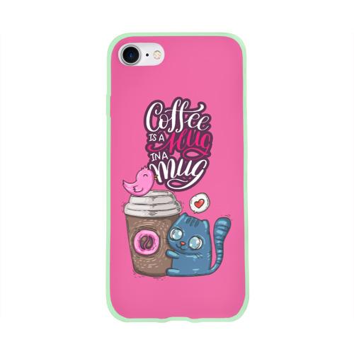 Чехол для Apple iPhone 8 силиконовый глянцевый Coffee is a hug Фото 01