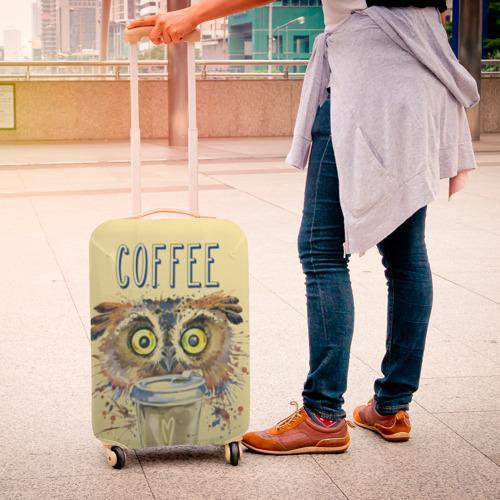 Чехол для чемодана 3D Сова и кофе Фото 01