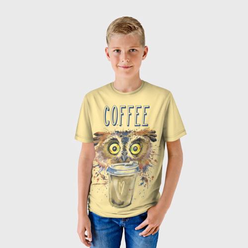 Детская футболка 3D Сова и кофе