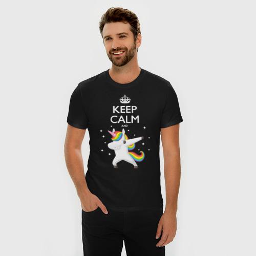 Мужская футболка премиум  Фото 03, Dab unicorn