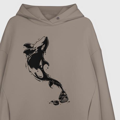 Женское худи Oversize хлопок Чернильный дельфин Фото 01