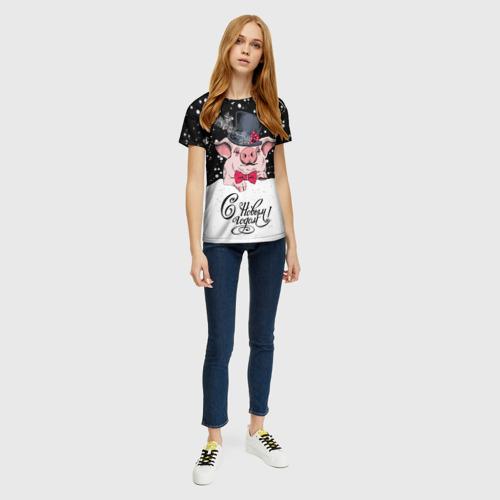 Женская футболка 3D Поросенок в цилиндре Фото 01