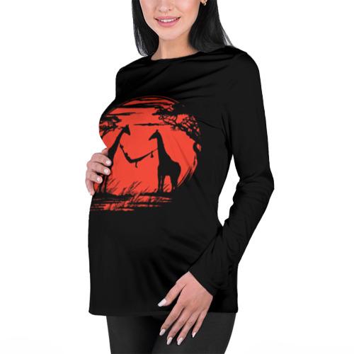Женский лонгслив 3D для беременных  Фото 01, Жирафы