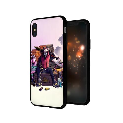 Чехол для Apple iPhone X силиконовый глянцевый Fortnite. Drift and Lama Фото 01