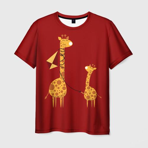 Мужская футболка 3D Жираф и Жирафик Фото 01