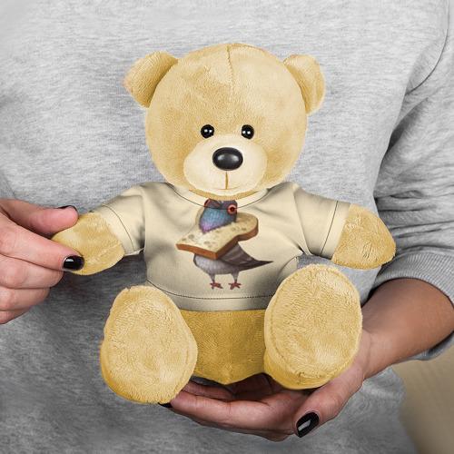 Игрушка Мишка в футболке 3D Голубь и Хлебушек Фото 01