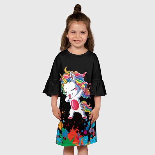 Детское платье 3D Радужный единорог Фото 01