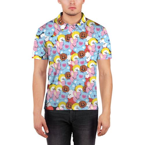 Мужская рубашка поло 3D BTS BT21 STICKERS Фото 01