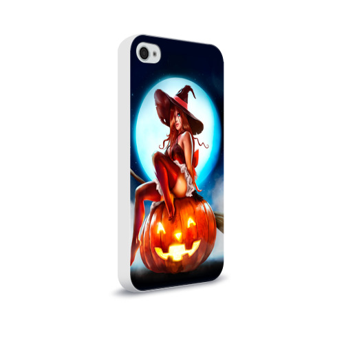 Чехол для Apple iPhone 4/4S soft-touch  Фото 02, Ведьма на тыкве