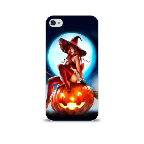 Чехол для Apple iPhone 4/4S soft-touch  Фото 01, Ведьма на тыкве