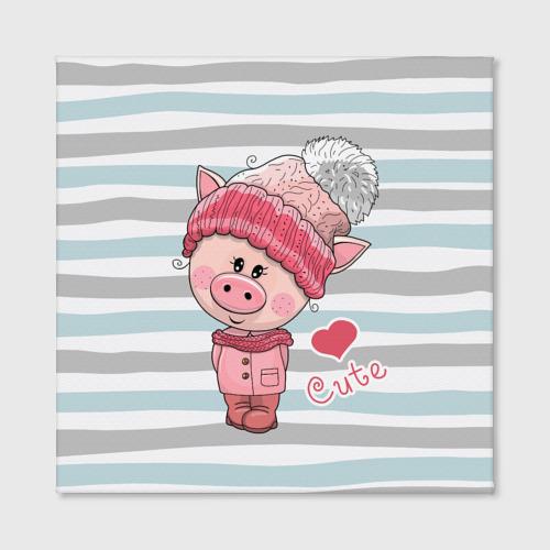 Холст квадратный  Фото 02, Милая свинка