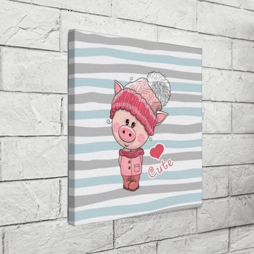Холст квадратный  Фото 03, Милая свинка