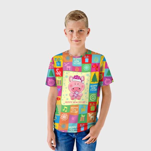 Детская футболка 3D  Фото 01, Новогодний поросенок