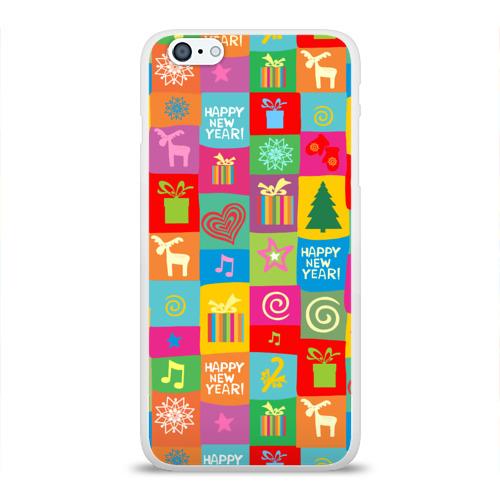 Чехол для Apple iPhone 6Plus/6SPlus силиконовый глянцевый  Фото 01, Новогодний коллаж